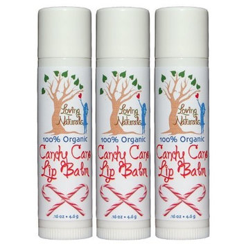 Loving Naturals 100% Organic, Candy Cane Lip Balm .16 Ounce (3 Pack)