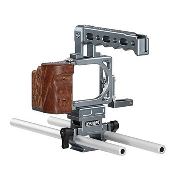 Sevenoak SK-BPC10 Portable Aluminum Cage Kit for Blackmagic Pocket Cinema Camera, Includes Form Fitting Camera Cage, Wood Grip and Top Hand Grip