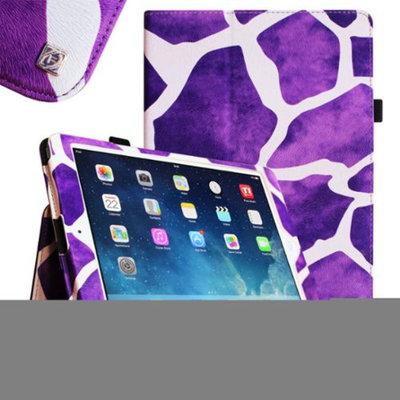 iPad Air 2 Case [Corner Protection] - Fintie Slim Fit Leather Folio Case with Auto Sleep / Wake Feature, Giraffe Purple