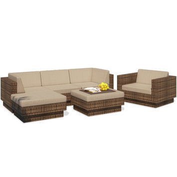 Dcor Design Park Terrace Saddle Strap Brown Weave Patio Furniture