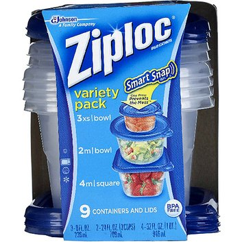 Ziploc Smart Snap Seal Containers with Lids Variety Pack