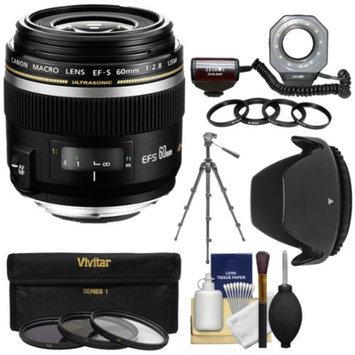 Canon EF-S 60mm f/2.8 Macro USM Lens with Macro Ringlight + Tripod + 3 UV/CPL/ND8 Filters + Hood + Kit