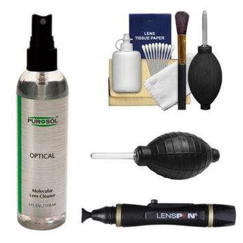PUROSOL Purosol All Natural Optical Molecular Lens & DSLR Camera Cleaner (4 Fl. Oz.) with Lenspen + Hurricane Blower + Cleaning Kit