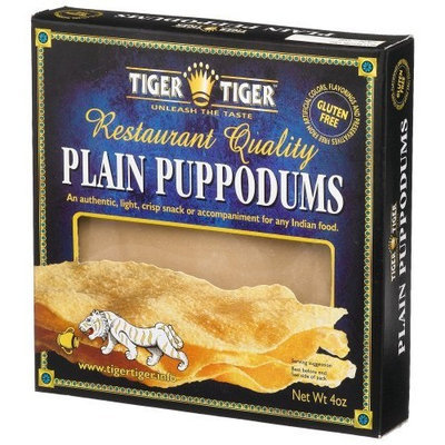 Tiger Tiger Indian Plain Puppodums, 4-Ounce Boxes (Pack of 12)