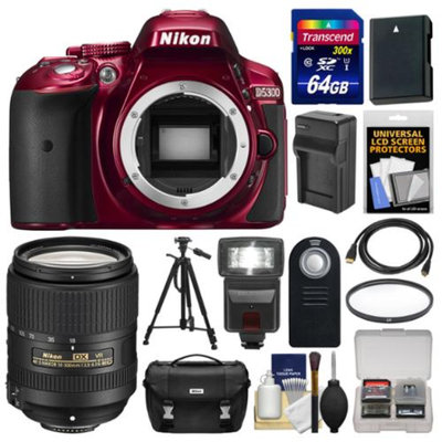 Nikon D5300 Digital SLR Camera Body (Red) with 18-300mm VR Lens + 64GB Card + Case + Flash + Battery/Charger + Tripod Kit