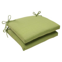 Pillow Perfect Outdoor 2-Piece Square Seat Cushion Set - Green Forsyth Solid