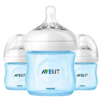 Philips Avent BPA Free Natural 4 Ounce Polypropylene Bottles, Blue, 3-
