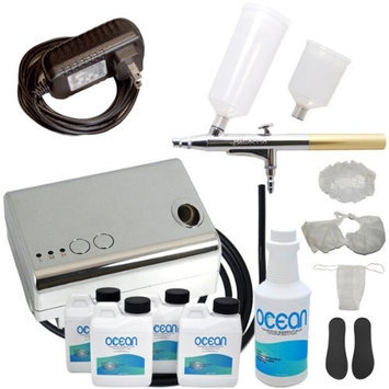 Complete Professional Belloccio Sunless Tanning Airbrush System with a Pint of 12.5% Ocean DHA Solution with Dark Bronzer, 4 Solution Variety Pack (1 Pint Total), and Accessories Kit