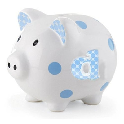 Mud Pie Initial Baby Boy Blue Initial Ceramic Polka Dot Piggy Bank, Letter D (Discontinued by Manufacturer)