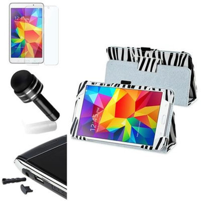 Insten INSTEN White/Black Zebra Leather Case+Protector/Pen Cap For Samsung Galaxy Tab 4 7.0 SM-T230