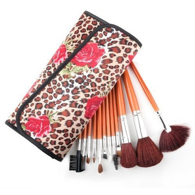 Makeup Solution ALICE 12 Count Professional Makeup Cosmetic Brush Set with Leopard Spotted Pouch