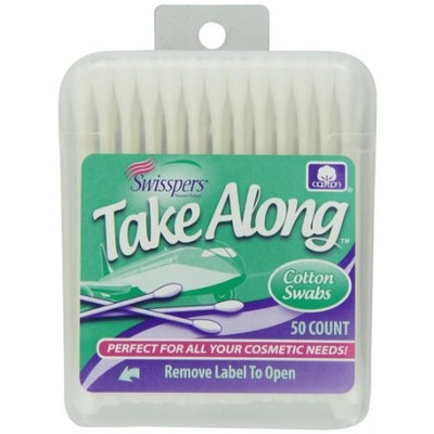 Swisspers Premium Take Along Cotton Swabs, White Paper Sticks, 50-Count (Pack of 6)