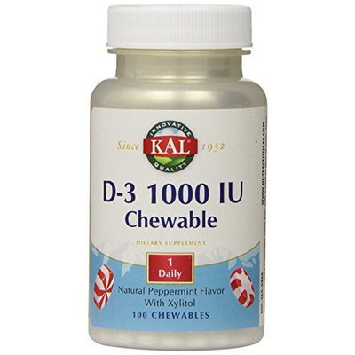 KAL D-3 1000 IU Chewable Softgels, Peppermint, 100 Count