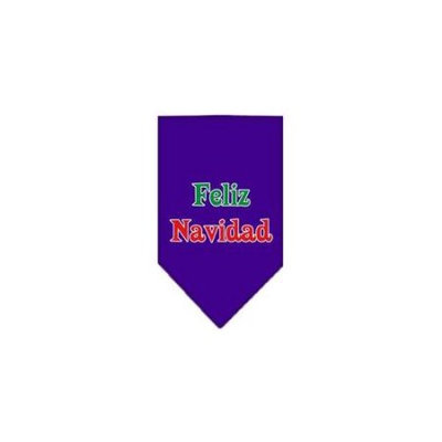 Ahi Feliz Navidad Screen Print Bandana Purple Large