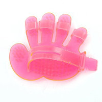 Soft Plastic Pet Head Massage Grooming Massager Glove Brush Pink