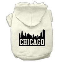 Mirage Pet Products Chicago Skyline Screen Print Pet Hoodies Cream Size XS (8)