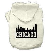 Mirage Pet Products Chicago Skyline Screen Print Pet Hoodies Cream Size XS (8)