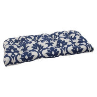 Pillow Perfect Outdoor Wicker Loveseat Cushion - Blue/White Damask