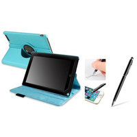 Insten INSTEN Light Blue 360 Swivel Leather Case w/ Sleep Mode + Black Stylus with Ballpoint Pen For Barnes & Noble Nook HD+