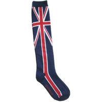 Okitani Union Jack Flag Knee High Socks Stripe Women Skater Blue Red White