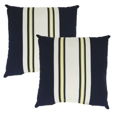 Threshold 2-Piece Square Outdoor Toss Pillow Set - Navy Stripe