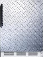 Summit FF61DPLADA 5.5 Cu. Ft. Freestanding Refrigerator with Textured Diamond Plate Door Automatic Defrost Hidden Evaporator and Adjustable Glass Shelves in