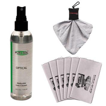 PUROSOL Purosol All Natural Optical Molecular Lens & DSLR Camera Cleaner (4 Fl. Oz.) with Spudz + 6 Microfiber Cleaning Cloths