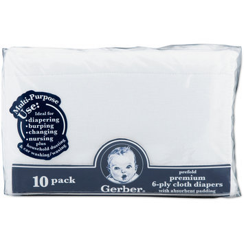 Gerber Gauze Prefold with Pad Cloth Diapers - 10 pk
