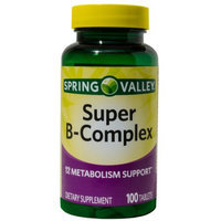 Wal-mart Stores, Inc. Spring Valley Super B-Complex Dietary Supplement Tablets, 100 count