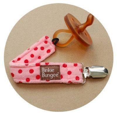 Z. Daisy Eco-friendly Oeko Tex Binkie Bungee Pacifier Clip (Pink Dot) - 3 Colors Options!