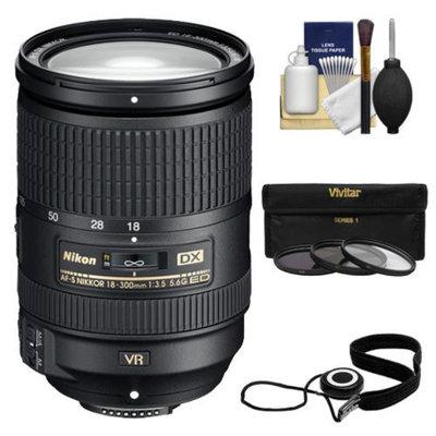 Nikon 18-300mm f/3.5-5.6G VR DX ED AF-S Nikkor-Zoom Lens with 3 (UV/ND8/CPL) Filters + Accessory Kit for D3100, D3200, D3300, D5100, D5200, D5300, D7000, D7100 DSLR Cameras