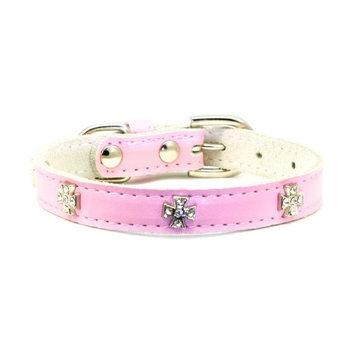 Hip Doggie Pink Cross Leather Collar, M
