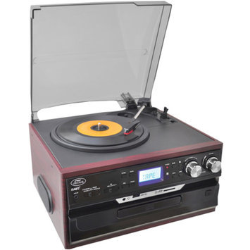 Pyle Classic Vintage Turntable with AM/FM Radio/Cassette/CD, USB/SD and Aux Input for iPod and MP3 Players (Mahogany)