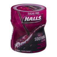 Halls Triple Soothing Action Drops Black Cherry Sugar Free - 50 CT