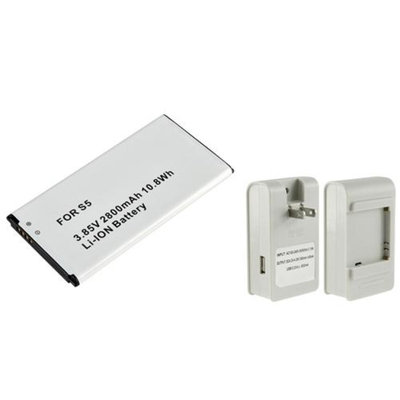 Insten INSTEN 2 X Extra 2800mAh Replacement Li-Ion Battery+White Desktop Battery USB Charger For Samsung Galaxy S5 SV i9600