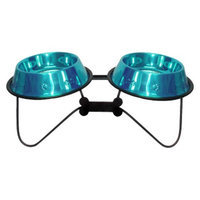 Platinum Pets Bone Double Feeder with Two Stainless Steel Embossed