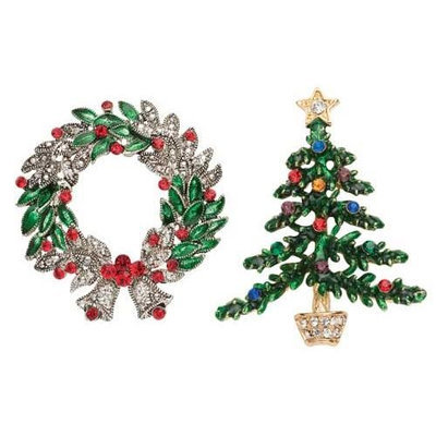 Roman Club Pack of 24 Sparkling Jeweled Wreath and Tree Christmas Jewelry Pins 2