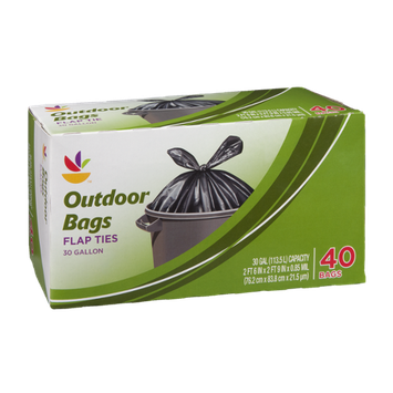 Ahold Outdoor Bags 30 Gallon Flap Ties - 40 CT