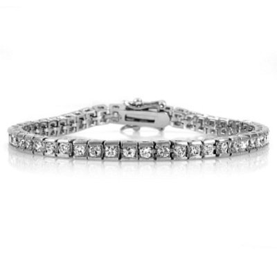 Emitations Aleda's Round Cut Channel Set Cubic Zirconia Tennis Bracelet