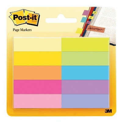 Post It Post-it Page Markers, 1/2 in x 1 3/4 in, Assorted Bright Colors, 50 Sheets/Pad, 10 Pads/Pack (670-10AB)
