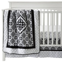 Trend Lab Versailles 3Pc Crib Bedding Set - Black/White by Lab