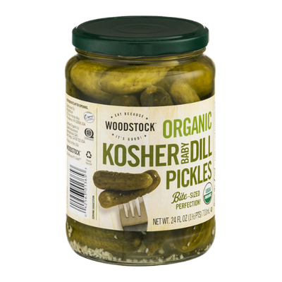 Woodstock Organic Bite-Sized Kosher Baby Dill Pickles