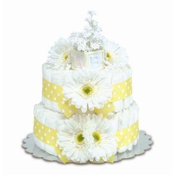 Bloomers Baby Diaper Cake Classic Yellow Gerbera Daisies 2-Tier