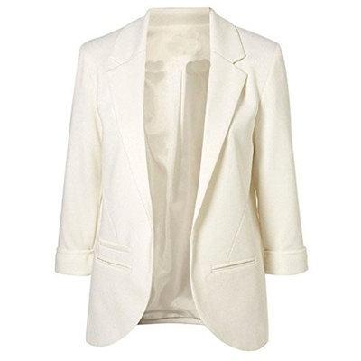 Sheinside Womens White Boyfriend Blazer Tailored Suit Coat Jacket Black Small