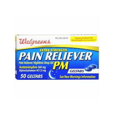 Walgreens Pain Reliever Pm Extra Strength Geltab