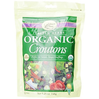 Edward & Sons Organic Croutons, Italian Herbs, 5.25-Ounce Packs (Pack of 6)