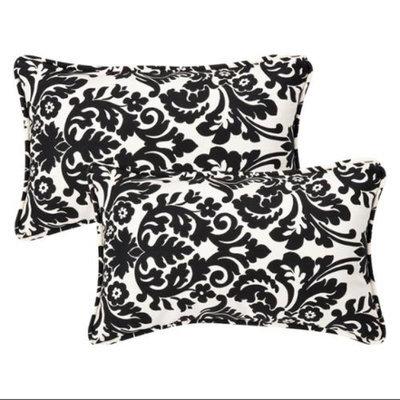 Pillow Perfect 2-Piece Outdoor Toss Pillow Set - Black/White Polka Dot 18