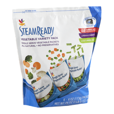Ahold Steam Ready Vegetable Single Serve Packets - California Blend, Peas & Carrots, Cut Green Beans - 6 CT