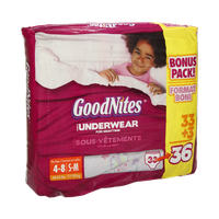 GoodNites Girls Size S-M Underwear For Nighttime - 36 CT