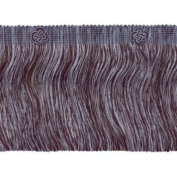 DecoPro Baroque Collection Trims Brown, Light Blue Baroque Coll Eyelash Fringe W/Rosette Style# 6ELFR Color: MOCHA ICE - 24B (Sold by The Yard)